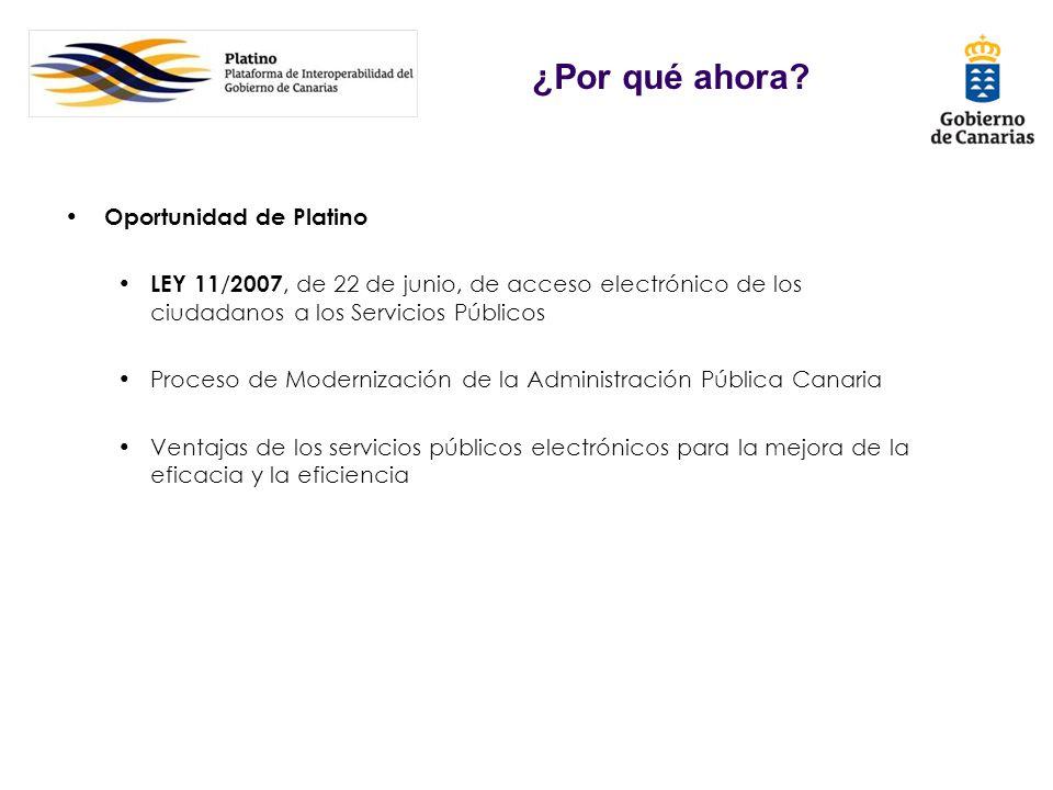 Oportunidad de Platino LEY 11 / 2007, de 22 de junio, de acceso electrónico de los ciudadanos a los Servicios Públicos Proceso de Modernización de la