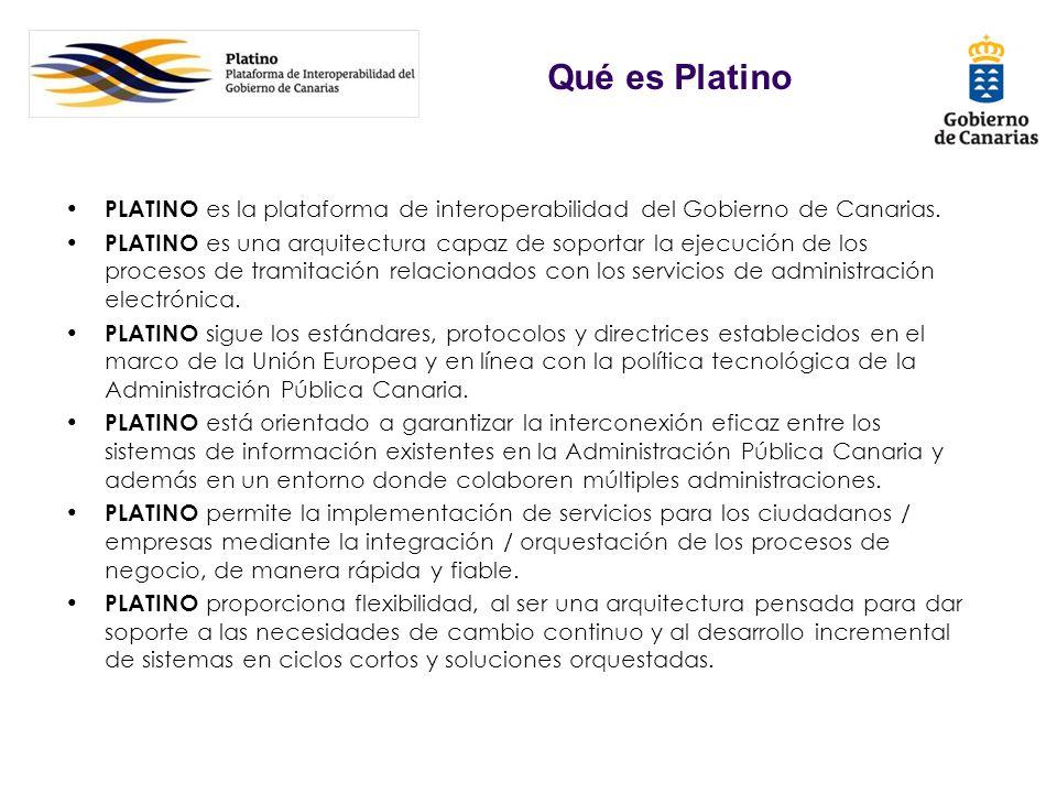 PLATINO es la plataforma de interoperabilidad del Gobierno de Canarias. PLATINO es una arquitectura capaz de soportar la ejecución de los procesos de