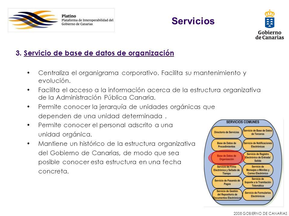 2008 GOBIERNO DE CANARIAS 3. Servicio de base de datos de organización Centraliza el organigrama corporativo. Facilita su mantenimiento y evolución. F