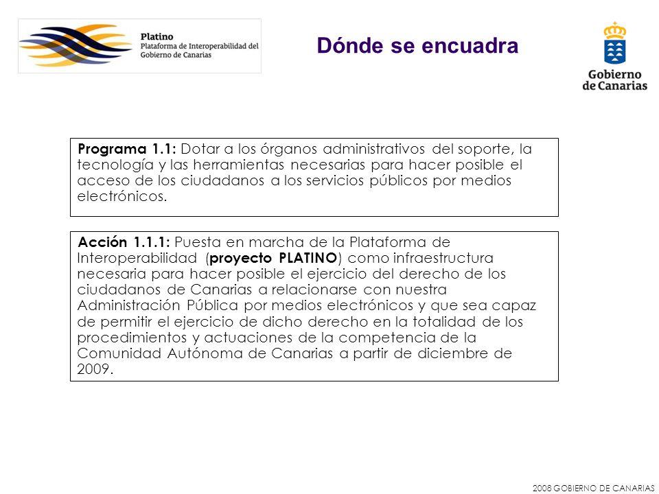2008 GOBIERNO DE CANARIAS Dónde se encuadra Acción 1.1.1: Puesta en marcha de la Plataforma de Interoperabilidad ( proyecto PLATINO ) como infraestruc