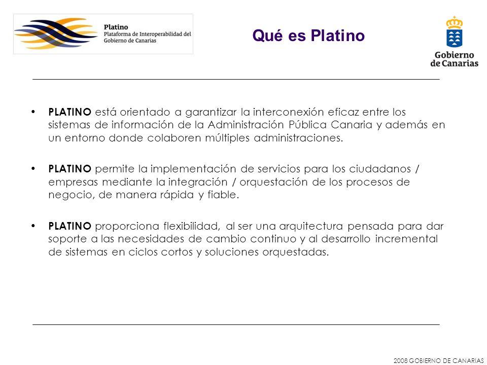 2008 GOBIERNO DE CANARIAS PLATINO está orientado a garantizar la interconexión eficaz entre los sistemas de información de la Administración Pública C