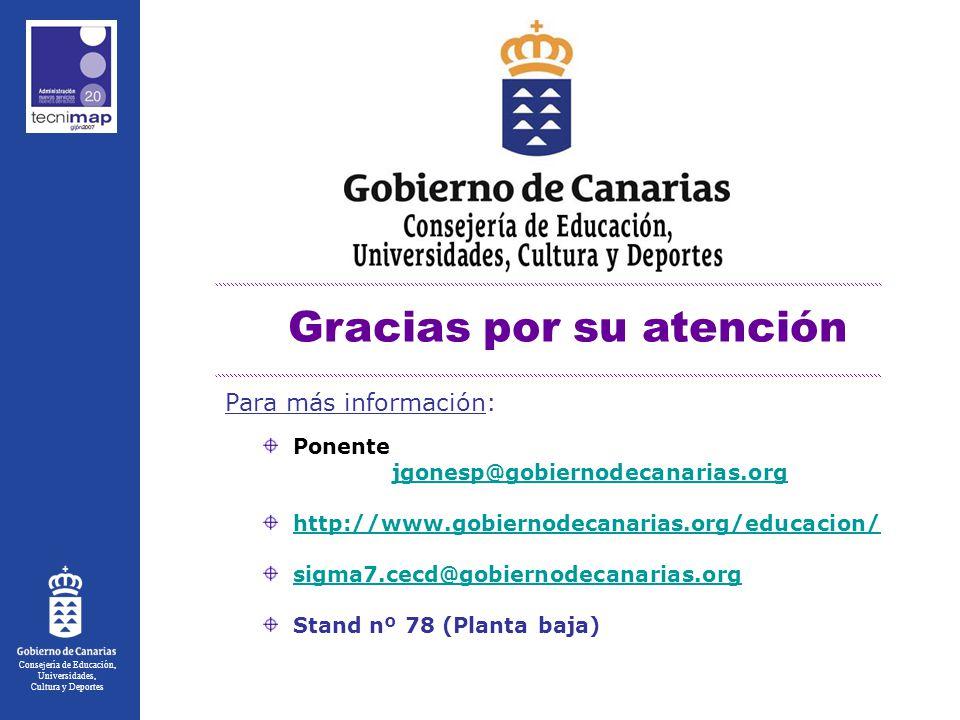 Consejería de Educación, Universidades, Cultura y Deportes Gracias por su atención Ponente jgonesp@gobiernodecanarias.org http://www.gobiernodecanarias.org/educacion/ sigma7.cecd@gobiernodecanarias.org Stand nº 78 (Planta baja) Para más información: