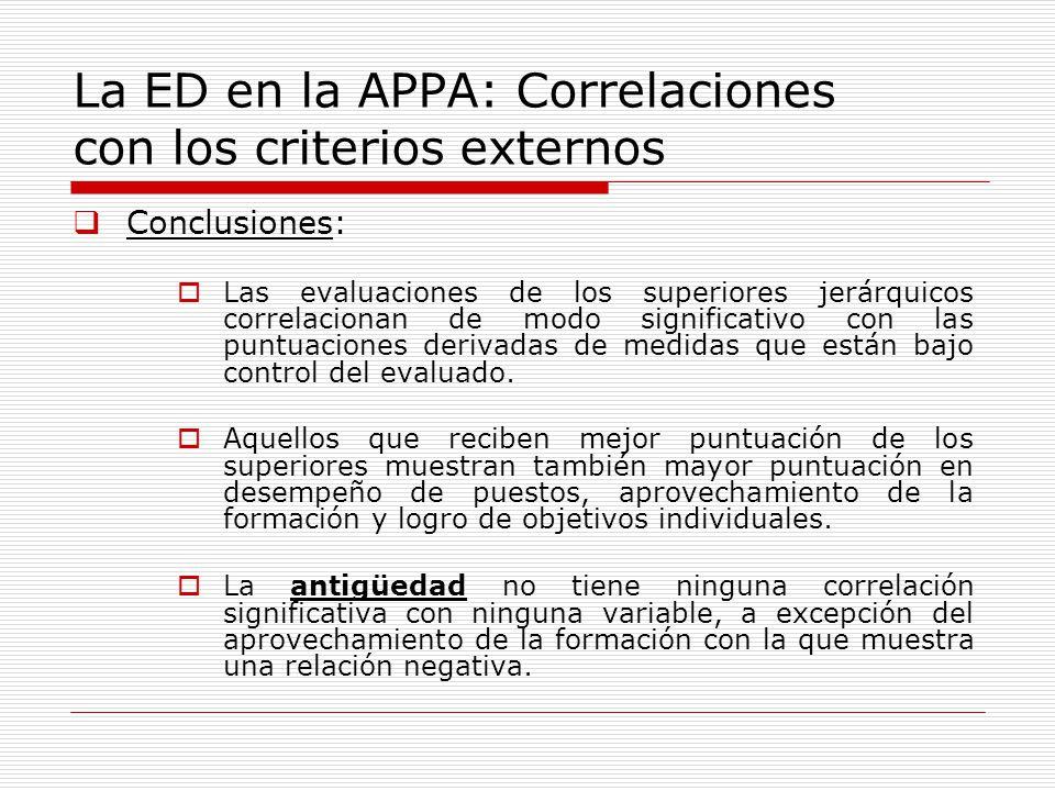La ED en la APPA: Correlaciones con los criterios externos Conclusiones: Las evaluaciones de los superiores jerárquicos correlacionan de modo signific