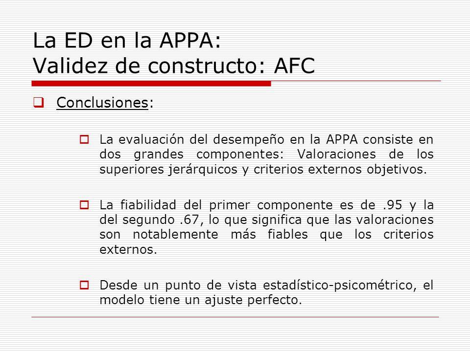 La ED en la APPA: Validez de constructo: AFC Conclusiones: La evaluación del desempeño en la APPA consiste en dos grandes componentes: Valoraciones de