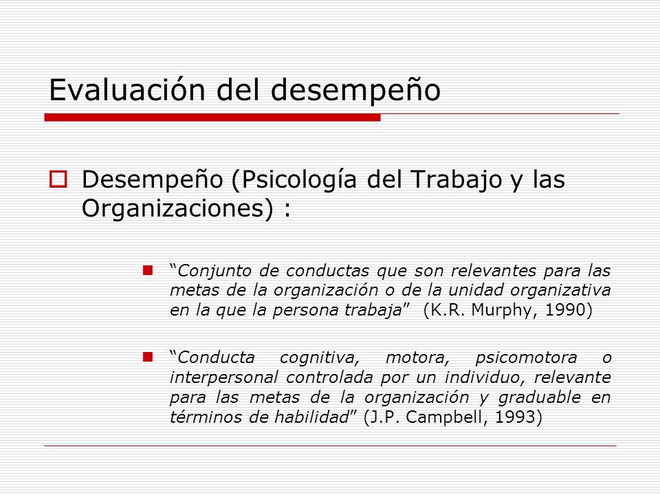 Evaluación del desempeño Desempeño (Psicología del Trabajo y las Organizaciones) : Conjunto de conductas que son relevantes para las metas de la organ