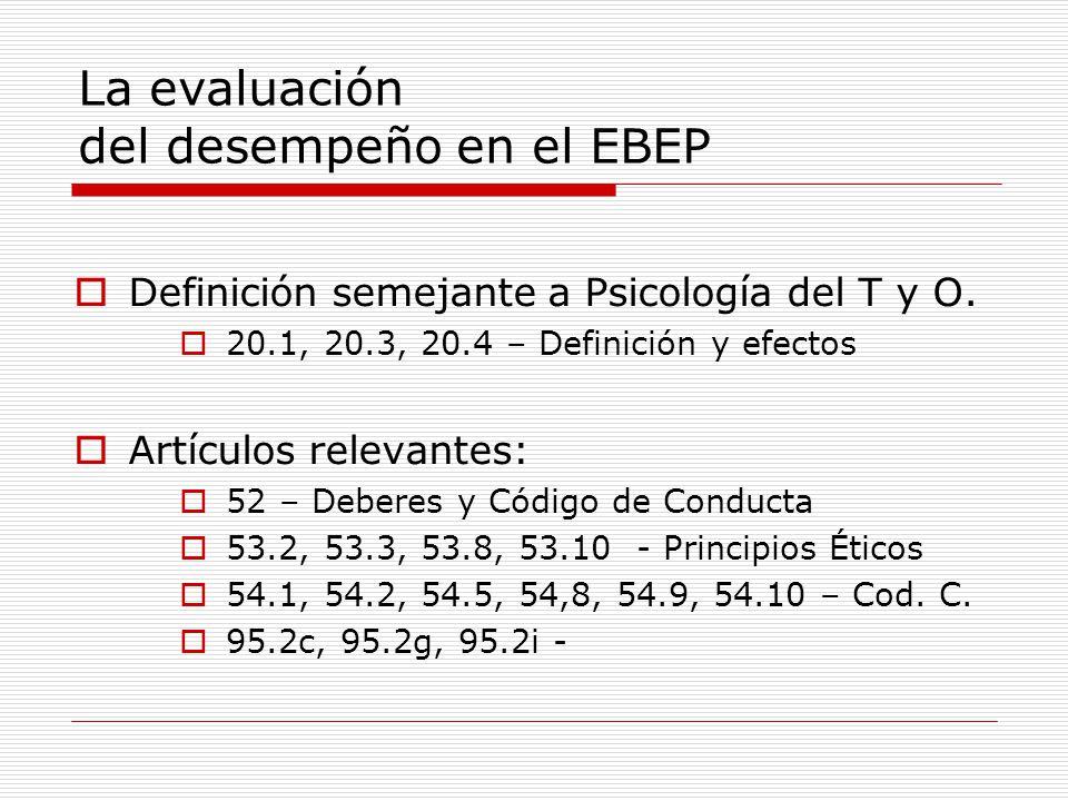 La evaluación del desempeño en el EBEP Definición semejante a Psicología del T y O. 20.1, 20.3, 20.4 – Definición y efectos Artículos relevantes: 52 –