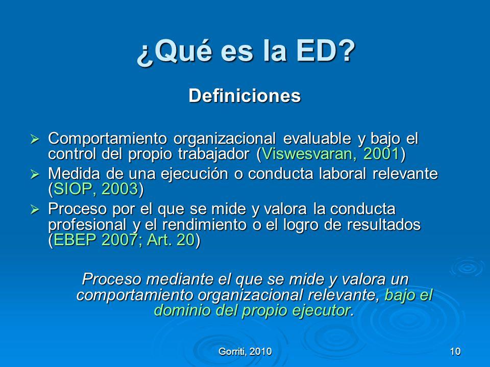 Gorriti, 201010 ¿Qué es la ED? Definiciones Comportamiento organizacional evaluable y bajo el control del propio trabajador (Viswesvaran, 2001) Compor