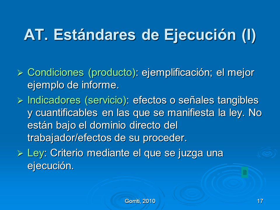 Gorriti, 201017 AT. Estándares de Ejecución (I) Condiciones (producto): ejemplificación; el mejor ejemplo de informe. Condiciones (producto): ejemplif