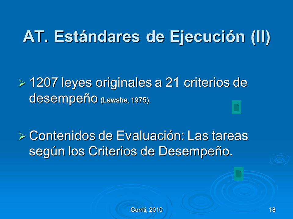Gorriti, 201018 AT. Estándares de Ejecución (II) 1207 leyes originales a 21 criterios de desempeño (Lawshe, 1975). 1207 leyes originales a 21 criterio