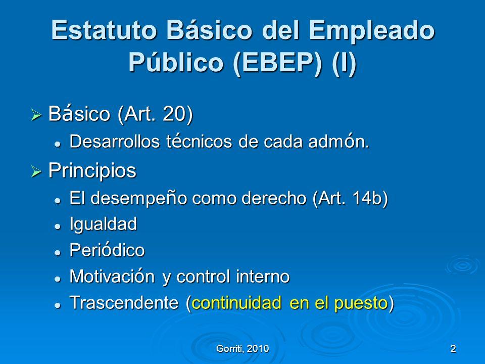 Gorriti, 20102 Estatuto Básico del Empleado Público (EBEP) (I) B á sico (Art. 20) B á sico (Art. 20) Desarrollos t é cnicos de cada adm ó n. Desarroll