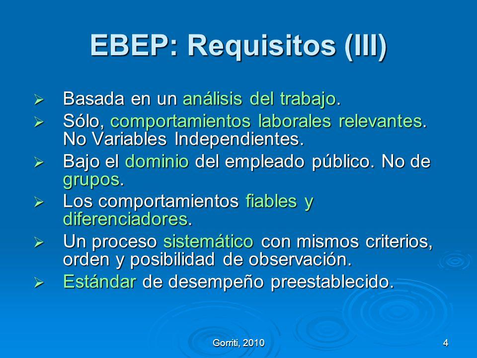 Gorriti, 20104 EBEP: Requisitos (III) Basada en un análisis del trabajo. Basada en un análisis del trabajo. Sólo, comportamientos laborales relevantes