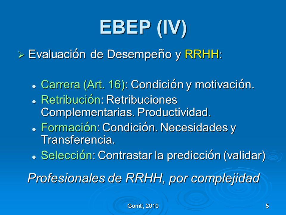 Gorriti, 20105 EBEP (IV) Evaluaci ó n de Desempe ñ o y RRHH : Evaluaci ó n de Desempe ñ o y RRHH : Carrera (Art. 16): Condici ó n y motivaci ó n. Carr