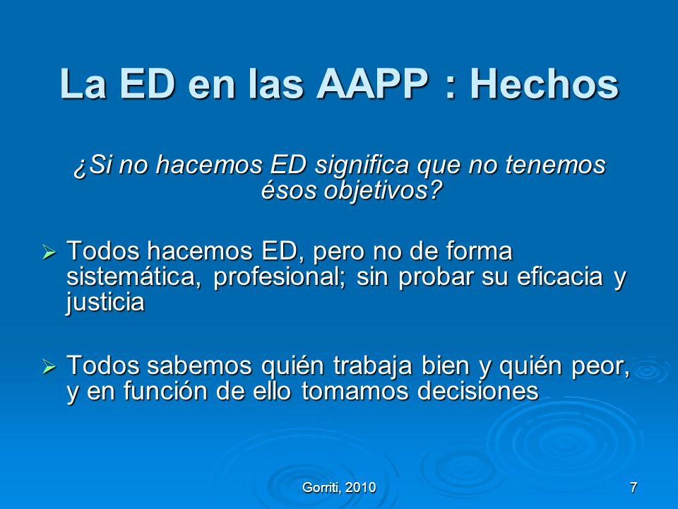 Gorriti, 20107 La ED en las AAPP : Hechos ¿Si no hacemos ED significa que no tenemos ésos objetivos? Todos hacemos ED, pero no de forma sistemática, p