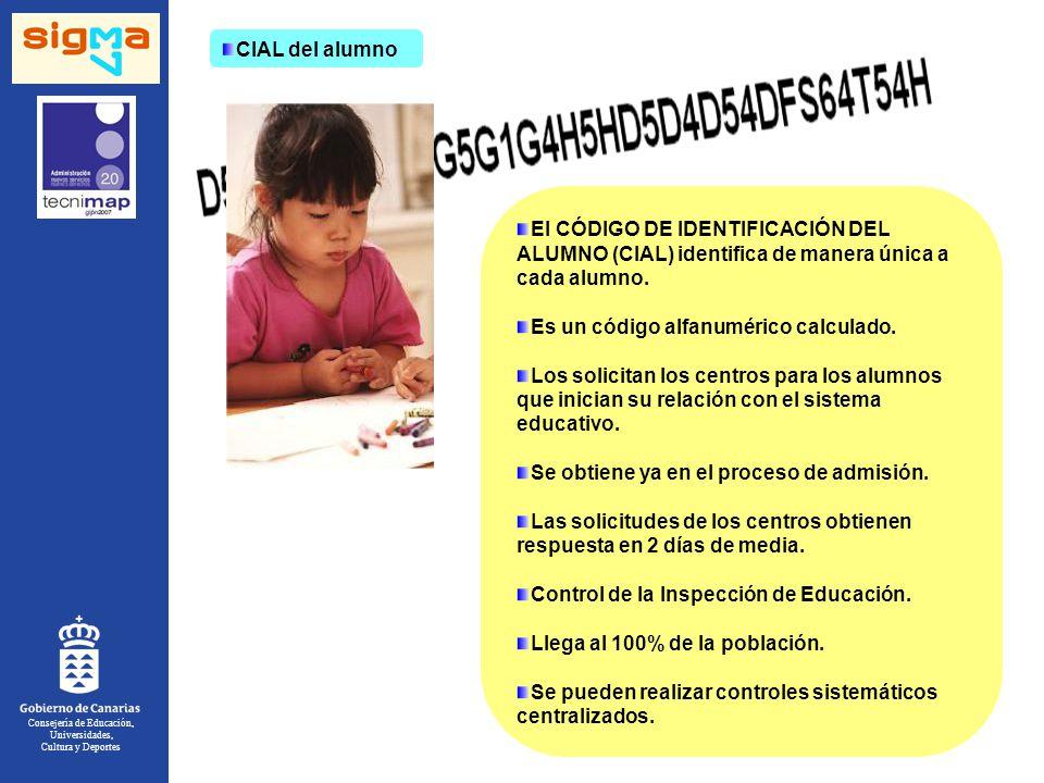 Consejería de Educación, Universidades, Cultura y Deportes CIAL del alumno El CÓDIGO DE IDENTIFICACIÓN DEL ALUMNO (CIAL) identifica de manera única a cada alumno.