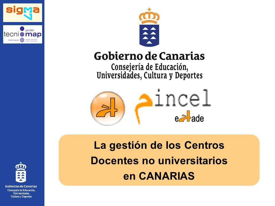 Consejería de Educación, Universidades, Cultura y Deportes La gestión de los Centros Docentes no universitarios en CANARIAS