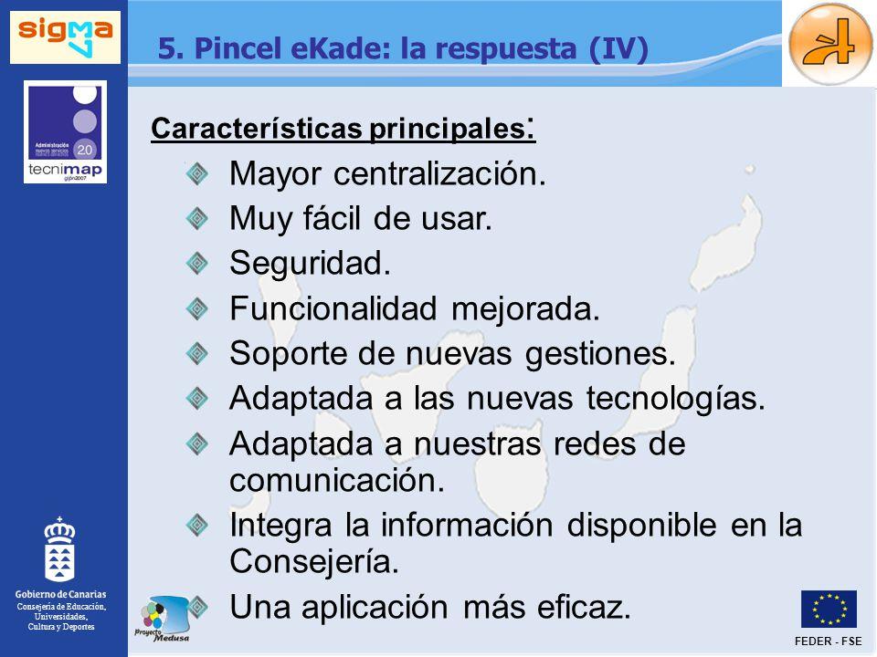 Consejería de Educación, Universidades, Cultura y Deportes FEDER - FSE 5. Pincel eKade: la respuesta (IV) Características principales : Mayor centrali