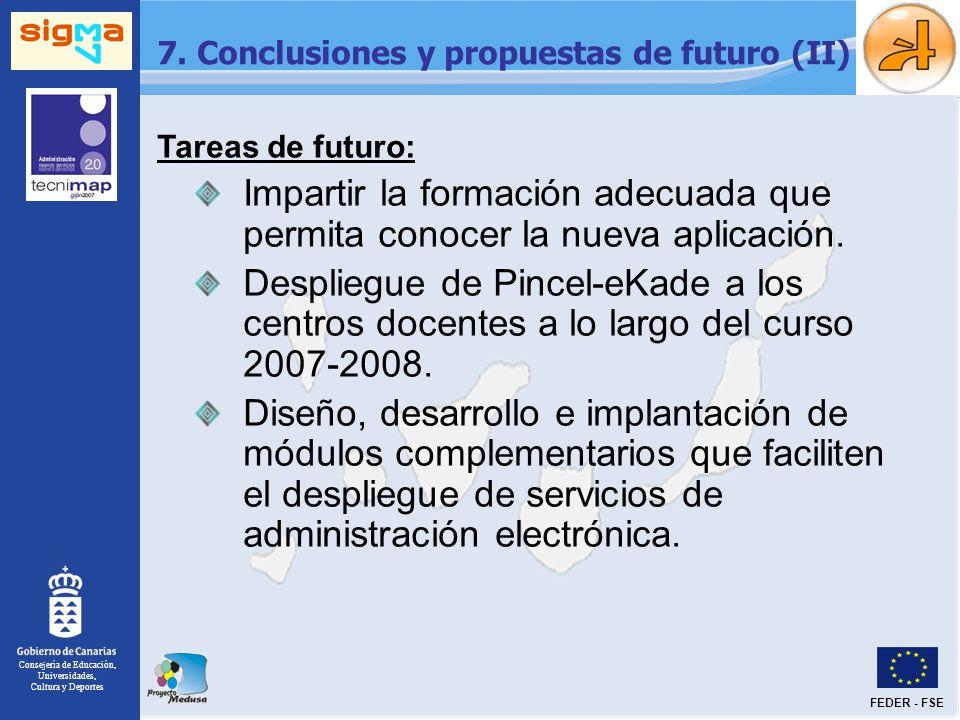 Consejería de Educación, Universidades, Cultura y Deportes FEDER - FSE 7. Conclusiones y propuestas de futuro (II) Tareas de futuro: Impartir la forma