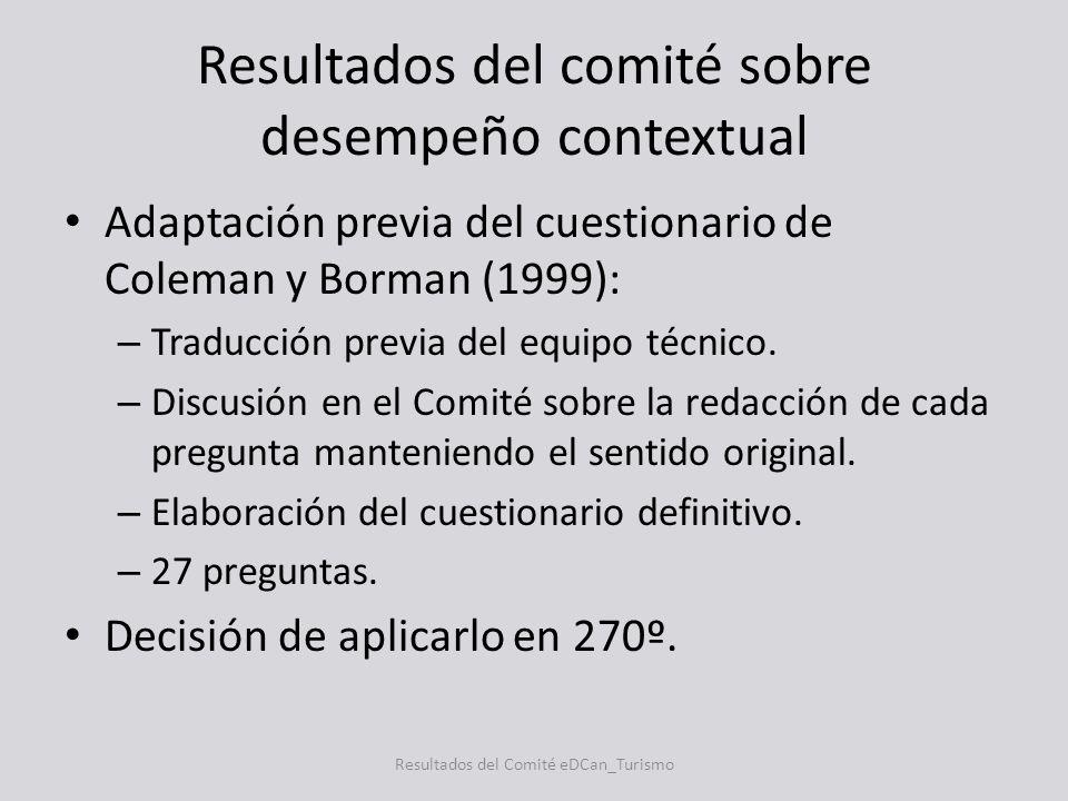 Resultados del comité sobre desempeño contextual Adaptación previa del cuestionario de Coleman y Borman (1999): – Traducción previa del equipo técnico