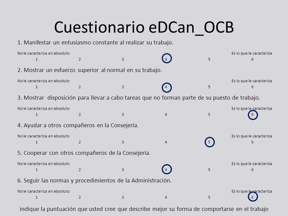 Cuestionario eDCan_OCB 1. Manifestar un entusiasmo constante al realizar su trabajo. No le caracteriza en absoluto Es lo que le caracteriza 123456 2.