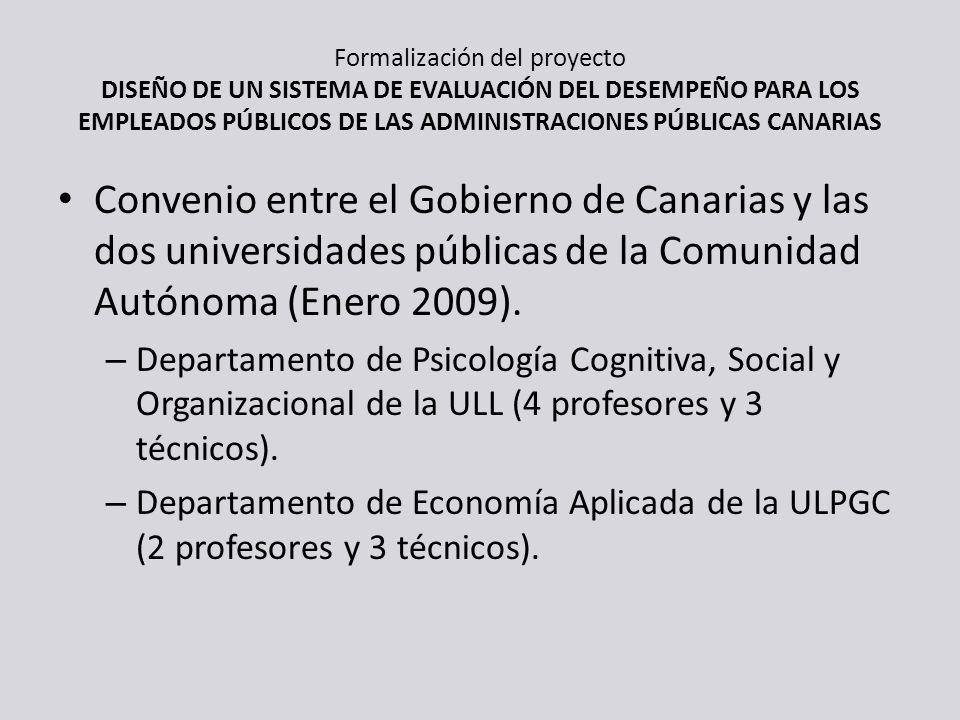 Formalización del proyecto DISEÑO DE UN SISTEMA DE EVALUACIÓN DEL DESEMPEÑO PARA LOS EMPLEADOS PÚBLICOS DE LAS ADMINISTRACIONES PÚBLICAS CANARIAS Conv