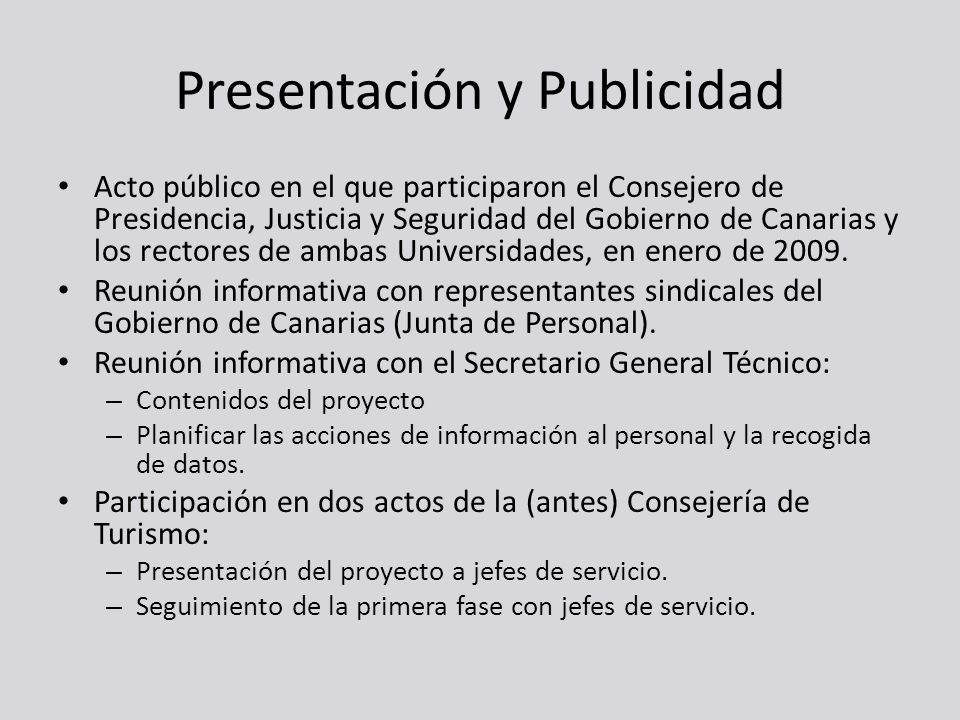 Presentación y Publicidad Acto público en el que participaron el Consejero de Presidencia, Justicia y Seguridad del Gobierno de Canarias y los rectore