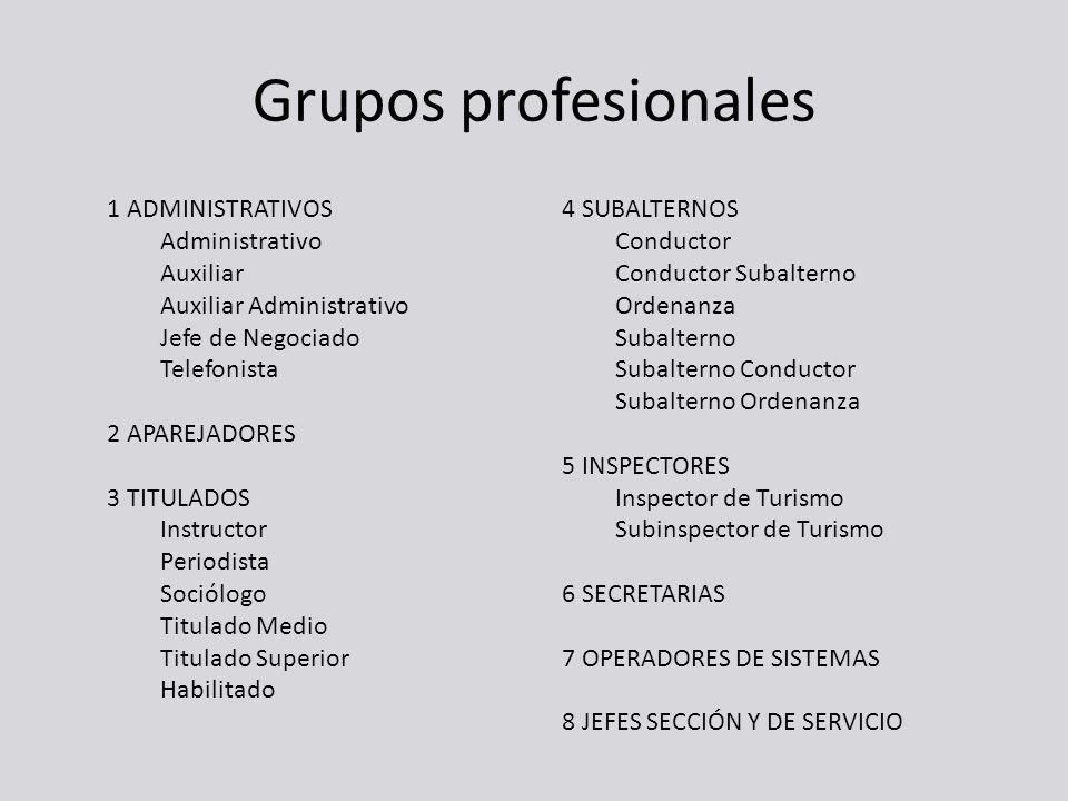 Grupos profesionales 1 ADMINISTRATIVOS Administrativo Auxiliar Auxiliar Administrativo Jefe de Negociado Telefonista 2 APAREJADORES 3 TITULADOS Instru