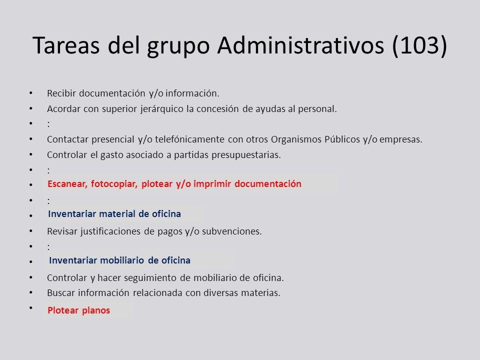 Tareas del grupo Administrativos (103) Recibir documentación y/o información. Acordar con superior jerárquico la concesión de ayudas al personal. : Co