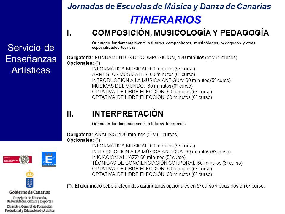 Servicio de Enseñanzas Artísticas ASIGNATURAS OPTATIVAS DE OFERTA OBLIGATORIA: 1.Técnicas de Concienciación Corporal 2.