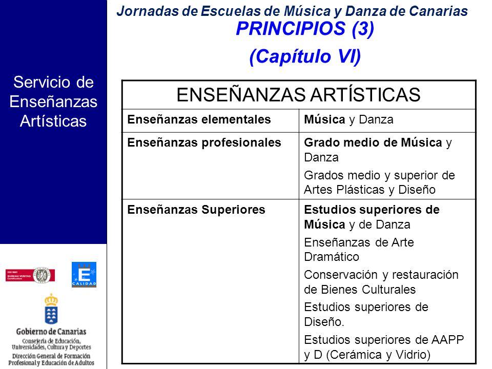 Servicio de Enseñanzas Artísticas PRINCIPIOS (2) (Capítulo VI) Estructura: Son enseñanzas artísticas las siguientes: a) Las enseñanzas elementales de música y de danza.