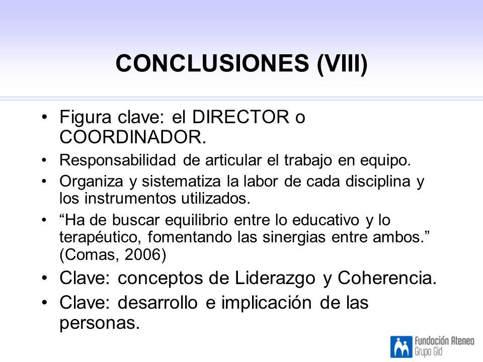 CONCLUSIONES (VIII) Figura clave: el DIRECTOR o COORDINADOR.