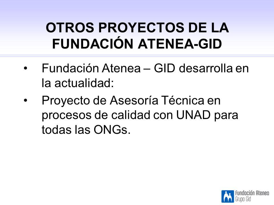OTROS PROYECTOS DE LA FUNDACIÓN ATENEA-GID Fundación Atenea – GID desarrolla en la actualidad: Proyecto de Asesoría Técnica en procesos de calidad con UNAD para todas las ONGs.