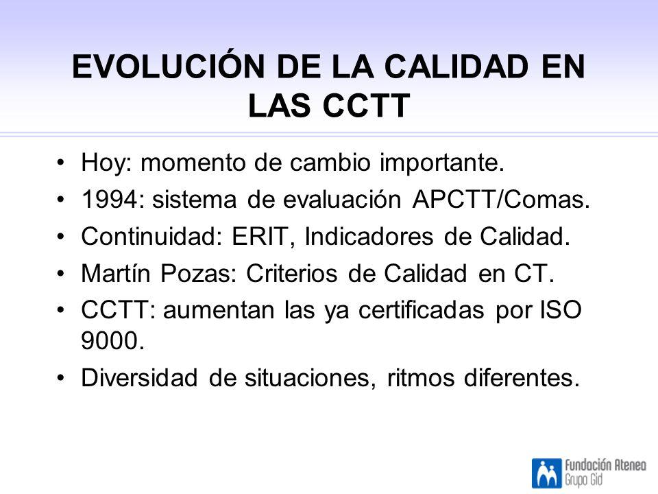 EVOLUCIÓN DE LA CALIDAD EN LAS CCTT Hoy: momento de cambio importante.
