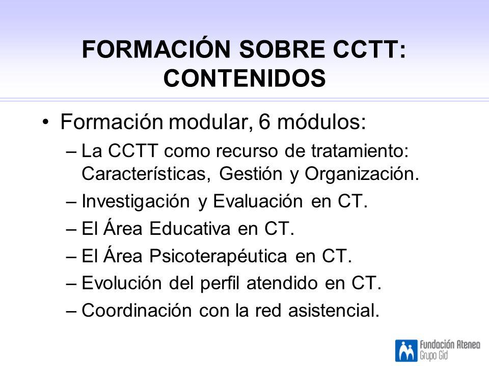 FORMACIÓN SOBRE CCTT: CONTENIDOS Formación modular, 6 módulos: –La CCTT como recurso de tratamiento: Características, Gestión y Organización.
