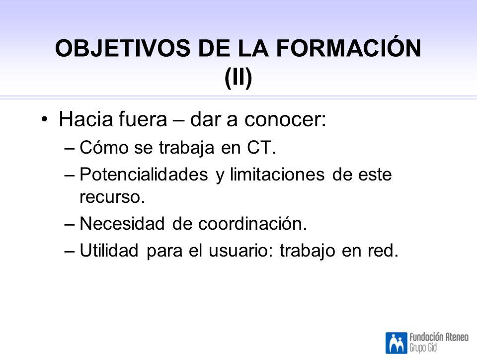 OBJETIVOS DE LA FORMACIÓN (II) Hacia fuera – dar a conocer: –Cómo se trabaja en CT.