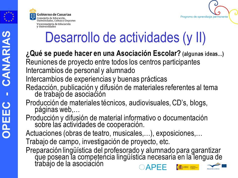 OPEEC - CANARIAS Desarrollo de actividades (y II) ¿Qué se puede hacer en una Asociación Escolar? (algunas ideas...) Reuniones de proyecto entre todos