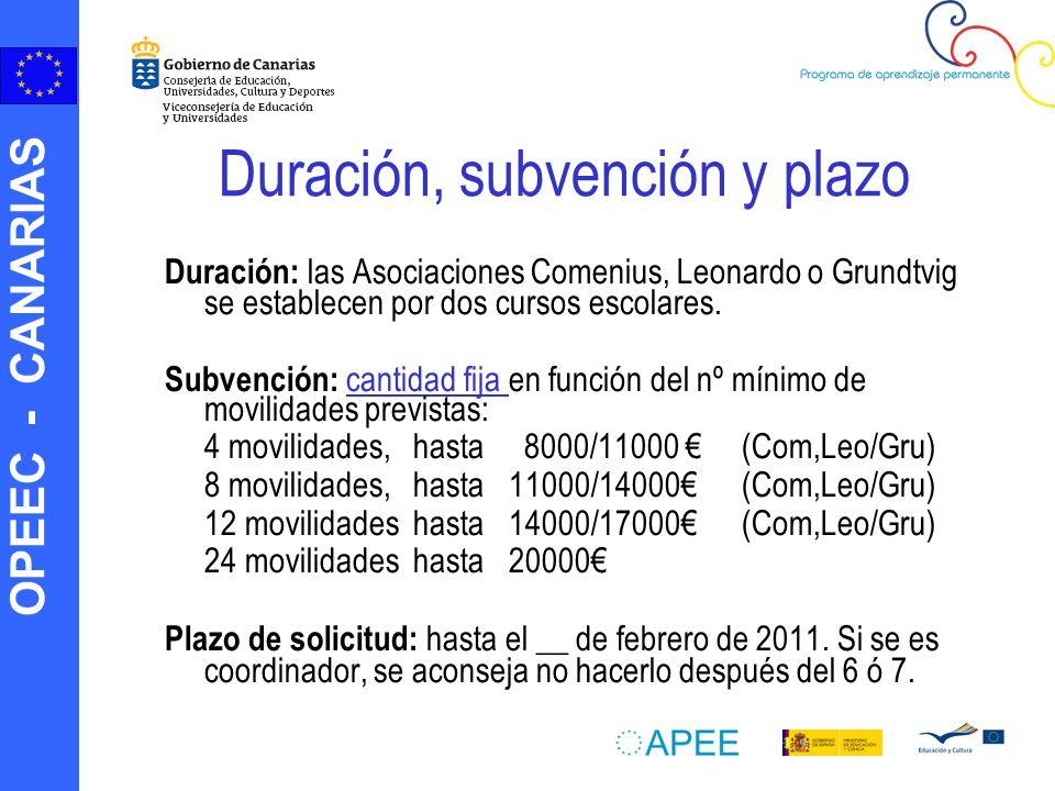 OPEEC - CANARIAS Duración, subvención y plazo Duración: las Asociaciones Comenius, Leonardo o Grundtvig se establecen por dos cursos escolares. Subven