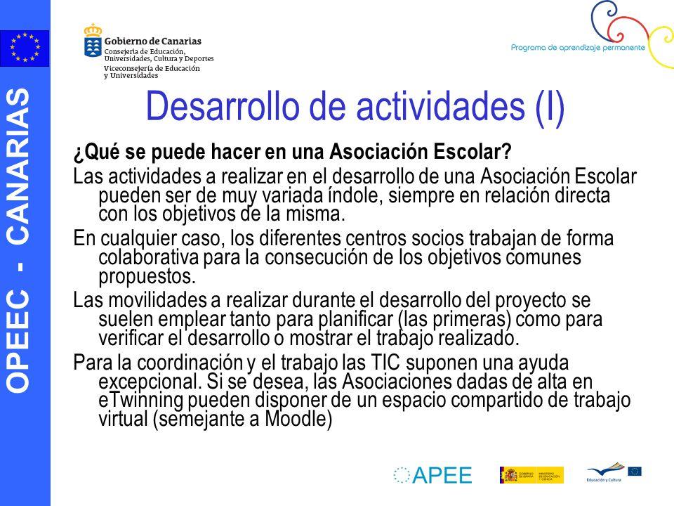 OPEEC - CANARIAS PRESENTACIÓN DE SOLICITUDES El centro coordinador realizará la solicitud en línea, desde la página web del OAPEE, y enviará el pdf a los centros socios.