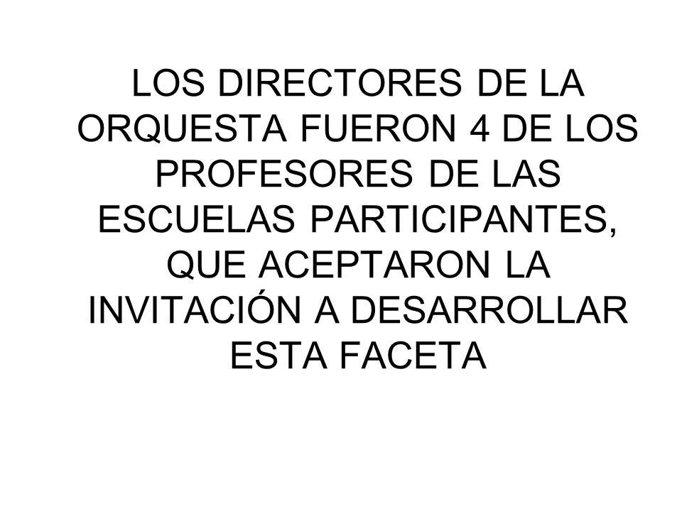 LOS DIRECTORES DE LA ORQUESTA FUERON 4 DE LOS PROFESORES DE LAS ESCUELAS PARTICIPANTES, QUE ACEPTARON LA INVITACIÓN A DESARROLLAR ESTA FACETA