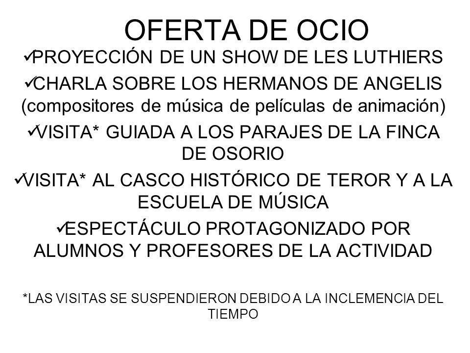 OFERTA DE OCIO PROYECCIÓN DE UN SHOW DE LES LUTHIERS CHARLA SOBRE LOS HERMANOS DE ANGELIS (compositores de música de películas de animación) VISITA* GUIADA A LOS PARAJES DE LA FINCA DE OSORIO VISITA* AL CASCO HISTÓRICO DE TEROR Y A LA ESCUELA DE MÚSICA ESPECTÁCULO PROTAGONIZADO POR ALUMNOS Y PROFESORES DE LA ACTIVIDAD *LAS VISITAS SE SUSPENDIERON DEBIDO A LA INCLEMENCIA DEL TIEMPO