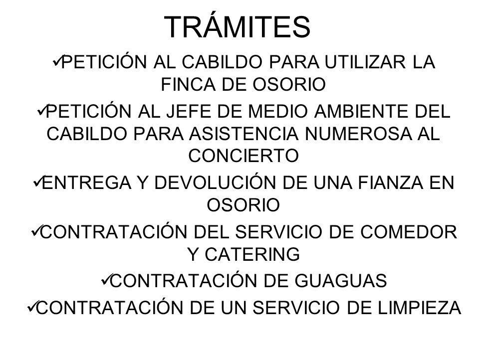 TRÁMITES PETICIÓN AL CABILDO PARA UTILIZAR LA FINCA DE OSORIO PETICIÓN AL JEFE DE MEDIO AMBIENTE DEL CABILDO PARA ASISTENCIA NUMEROSA AL CONCIERTO ENTREGA Y DEVOLUCIÓN DE UNA FIANZA EN OSORIO CONTRATACIÓN DEL SERVICIO DE COMEDOR Y CATERING CONTRATACIÓN DE GUAGUAS CONTRATACIÓN DE UN SERVICIO DE LIMPIEZA