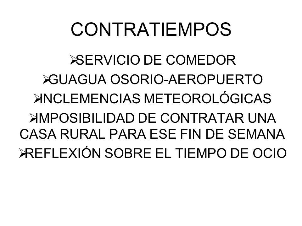 CONTRATIEMPOS SERVICIO DE COMEDOR GUAGUA OSORIO-AEROPUERTO INCLEMENCIAS METEOROLÓGICAS IMPOSIBILIDAD DE CONTRATAR UNA CASA RURAL PARA ESE FIN DE SEMANA REFLEXIÓN SOBRE EL TIEMPO DE OCIO
