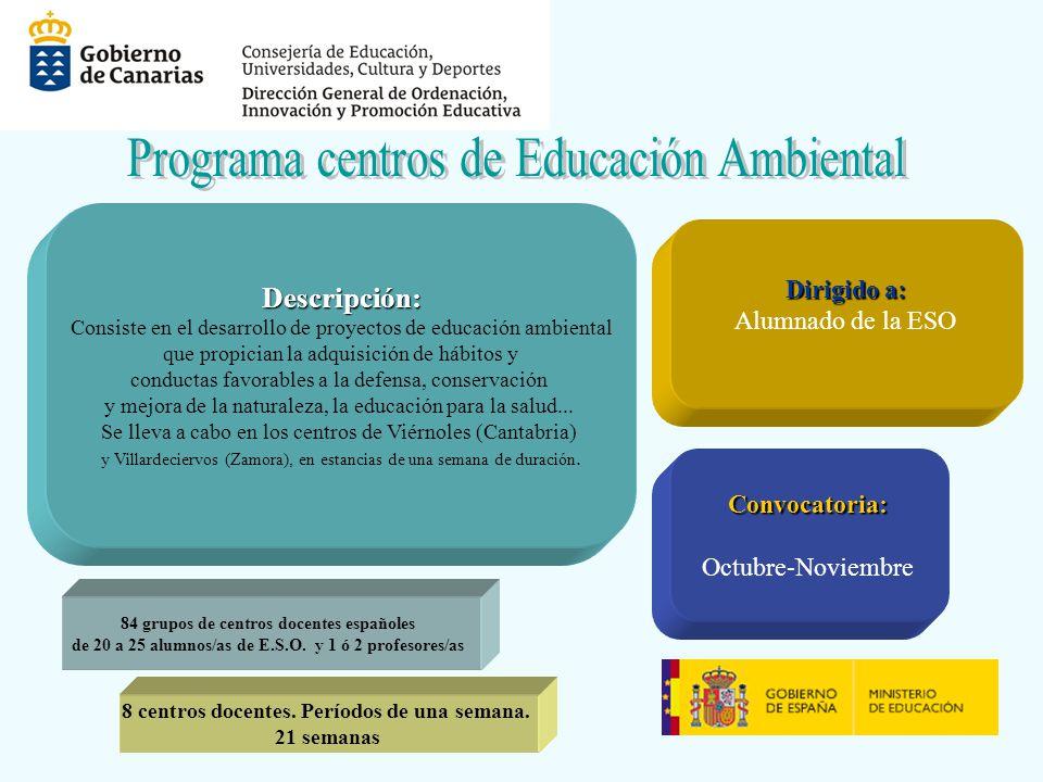 Descripción: Consiste en el desarrollo de proyectos de educación ambiental que propician la adquisición de hábitos y conductas favorables a la defensa, conservación y mejora de la naturaleza, la educación para la salud...