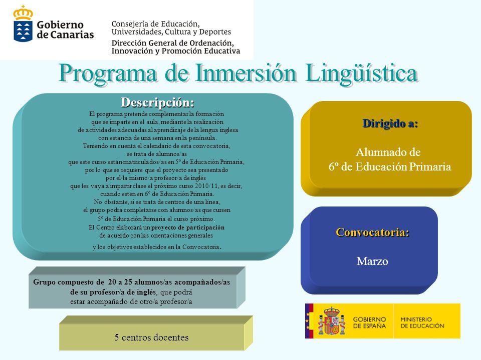 Descripción: El programa pretende complementar la formación que se imparte en el aula, mediante la realización de actividades adecuadas al aprendizaje de la lengua inglesa con estancia de una semana en la península.