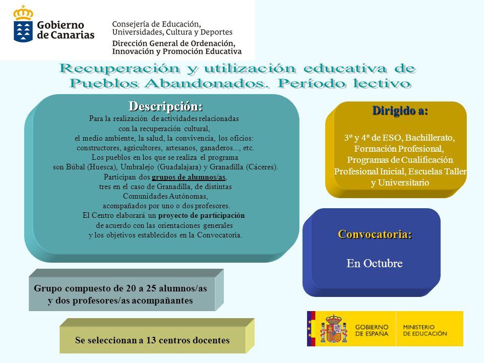 Descripción: Para la realización de actividades relacionadas con la recuperación cultural, el medio ambiente, la salud, la convivencia, los oficios: c