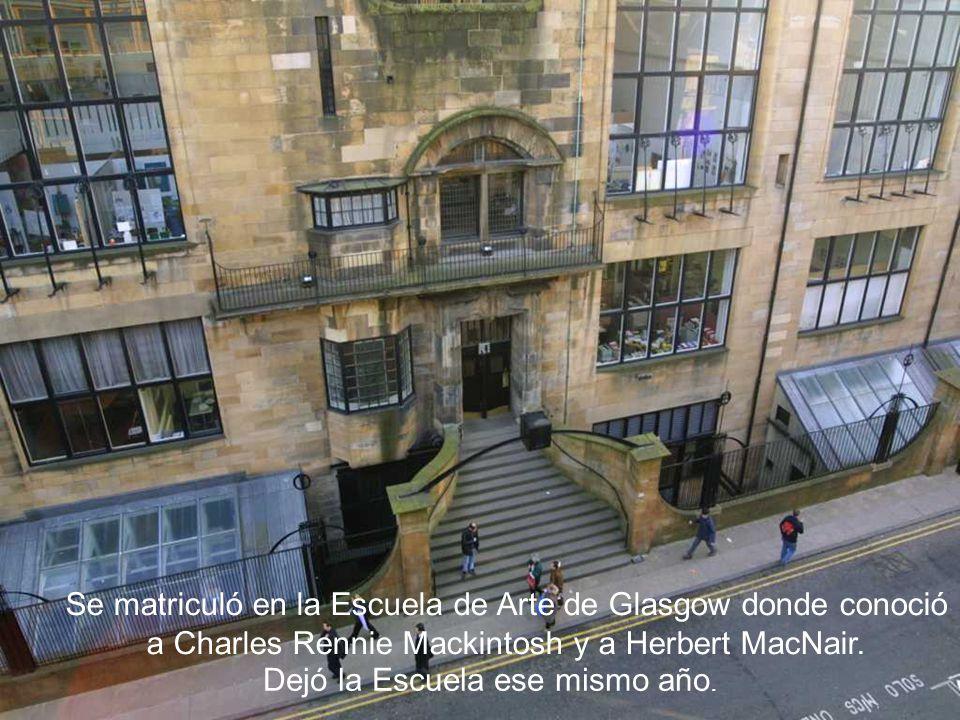 Se matriculó en la Escuela de Arte de Glasgow donde conoció a Charles Rennie Mackintosh y a Herbert MacNair. Dejó la Escuela ese mismo año.
