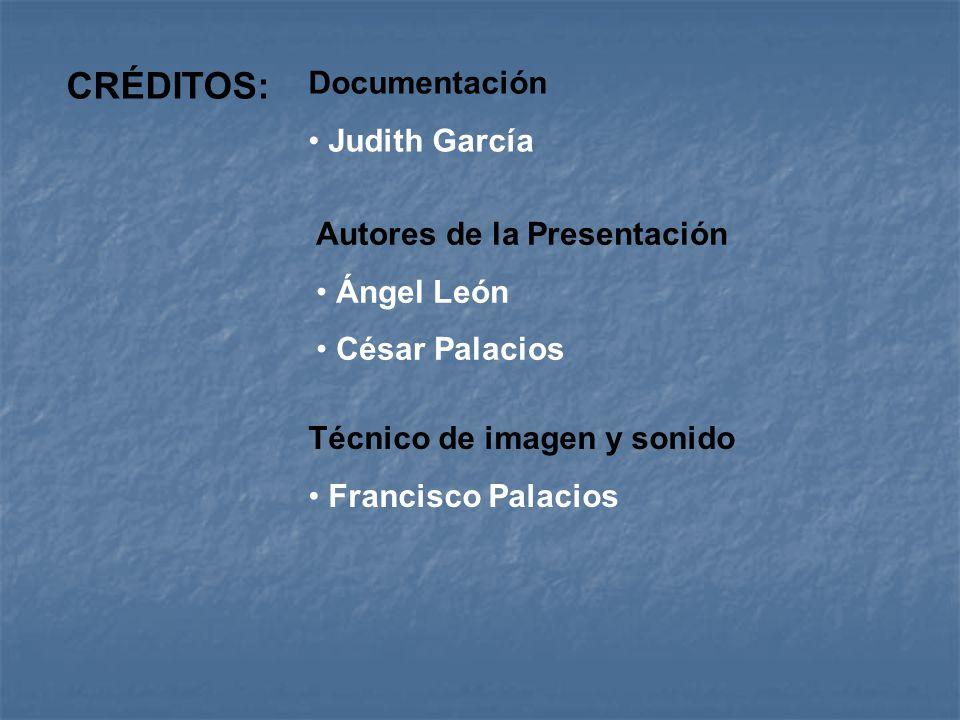 CRÉDITOS: Autores de la Presentación Ángel León César Palacios Documentación Judith García Técnico de imagen y sonido Francisco Palacios