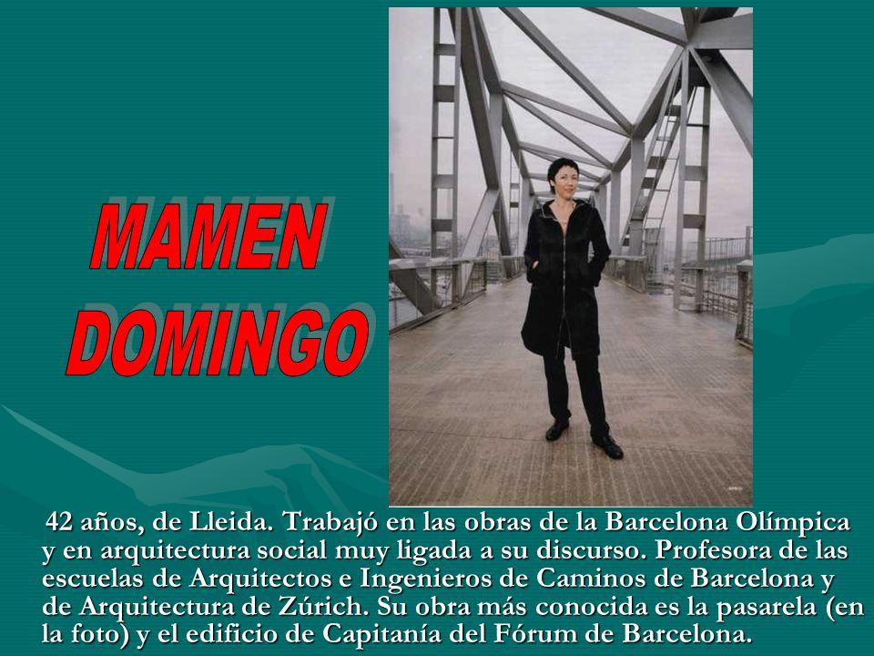 42 años, de Lleida. Trabajó en las obras de la Barcelona Olímpica y en arquitectura social muy ligada a su discurso. Profesora de las escuelas de Arqu
