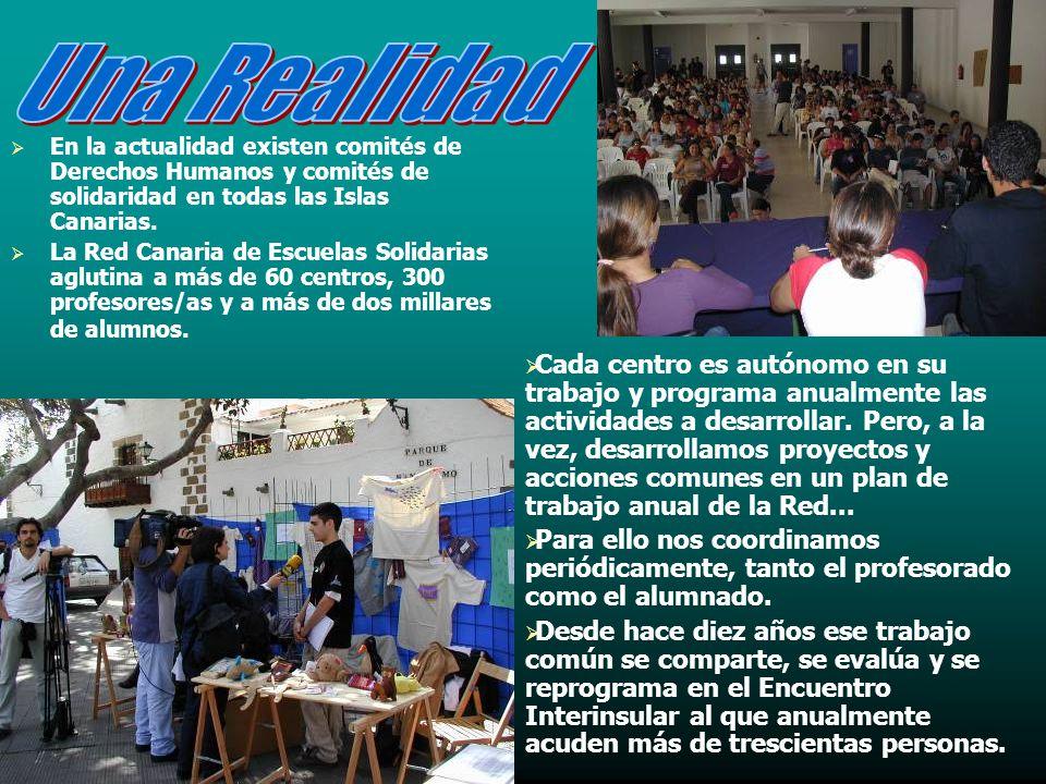 En la actualidad existen comités de Derechos Humanos y comités de solidaridad en todas las Islas Canarias.