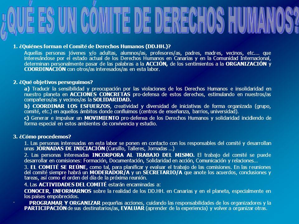 1. ¿Quiénes forman el Comité de Derechos Humanos (DD.HH.).