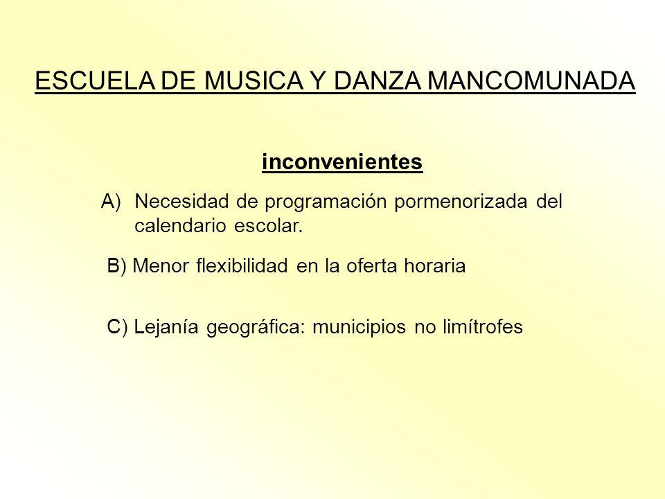 ESCUELA DE MUSICA Y DANZA MANCOMUNADA inconvenientes A)Necesidad de programación pormenorizada del calendario escolar. B) Menor flexibilidad en la ofe
